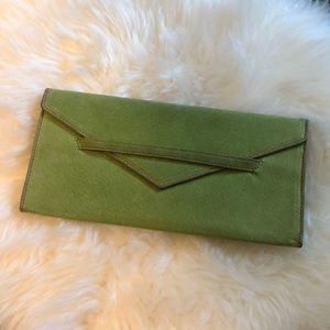 Handbags - Lime green sueded envelope clutch